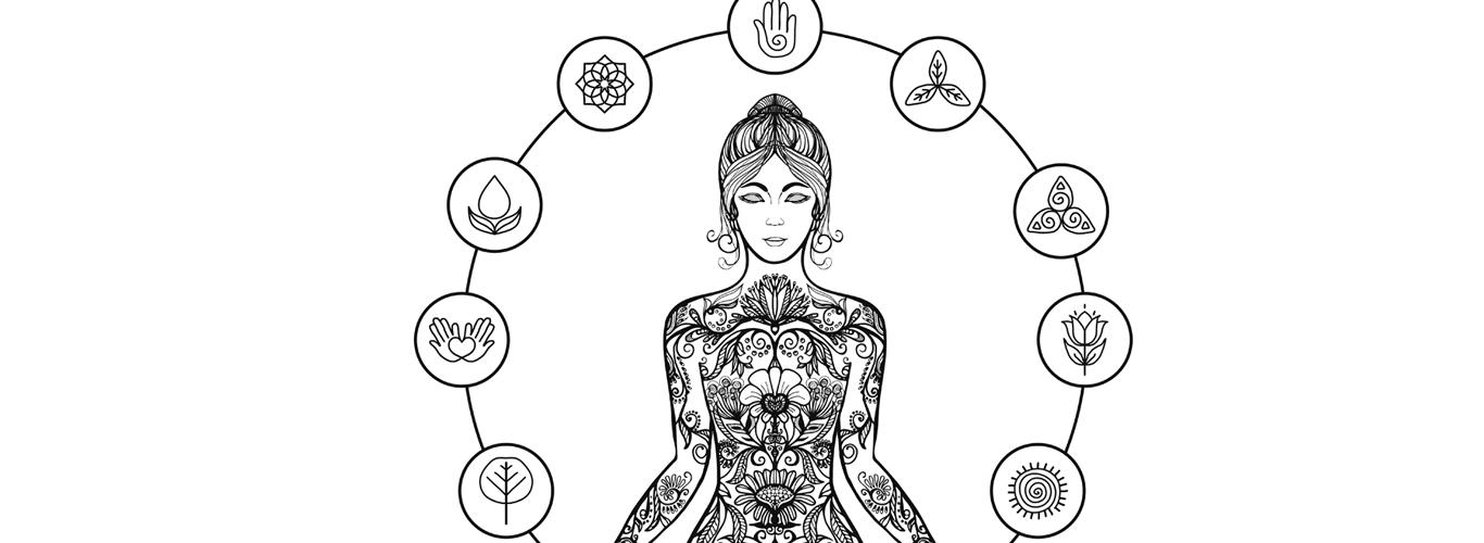 ilustração de mulher meditando ao redor de símbolos que representam o equilíbrio