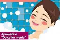 ilustração de mulher sorrindo na banheira enquanto relaxa